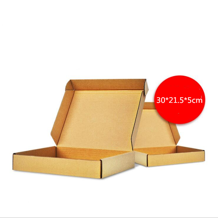 10pcs/lot 30*21.5*5cm Brown Kraft Cardboard Boxes Business Express Shopping Delivery Packaging Paper Package Mailing Box