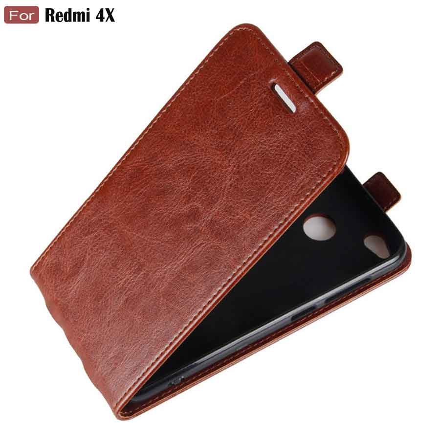 flip case for xiaomi redmi 4x 32gb luxury retro leather magnetic card holder phone bags flip - Magnetic Card Holder