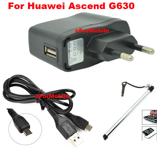 EU Plug Charger Adapter Mobile Phone Travel Charger+USB Data Cable+Stylus Pen Huawei Ascend G630 - Case-Store Amy store