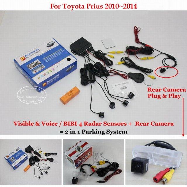 For Toyota Prius 2010~2014 - Car Parking Sensors + Rear View Back Up Camera = 2 in 1 Visual / BIBI Alarm Parking System