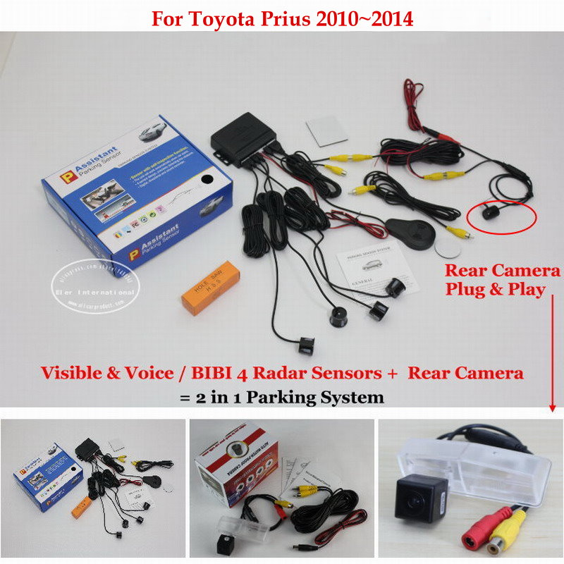 Liislee For Toyota Prius 2010~2014 - Car Parking Sensors + Rear View Back Up Camera = 2 in 1 Visual / BIBI Alarm Parking System car parking sensors rear view camera 2 in 1 visual bibi alarm parking system for subaru forester sj 2012 2015