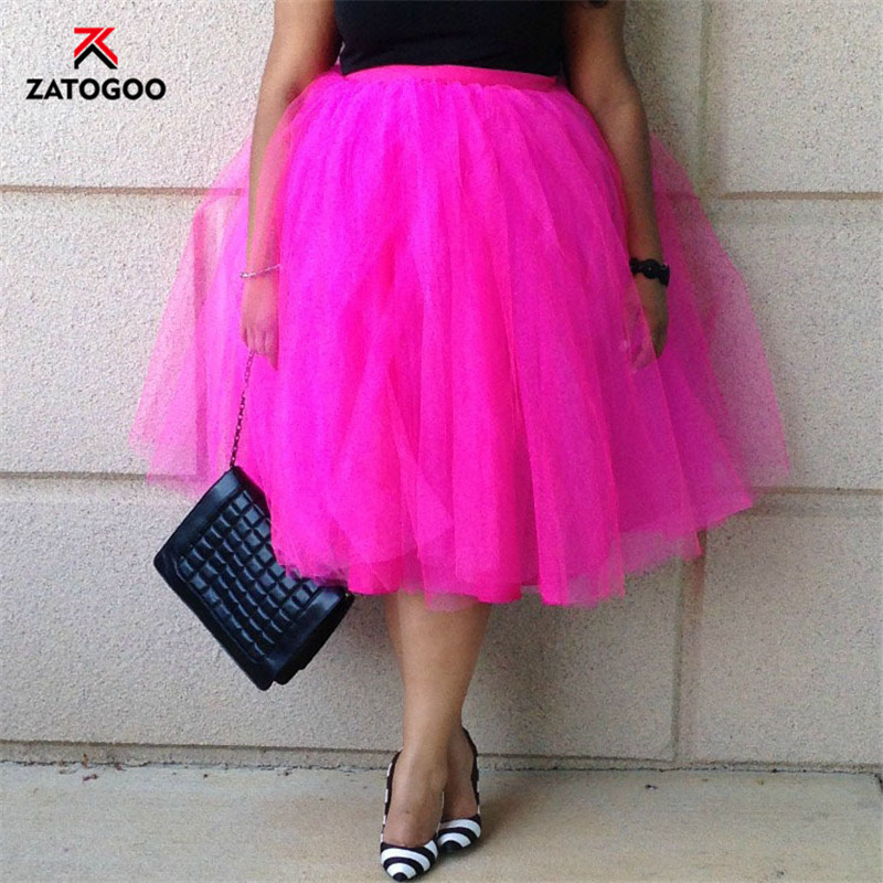 Image 2 - Summer Tulle Pleated Tutu Skirt plus Large Size Party Street Casual Women Ball Gown Skirt Dance White Pink Green Black Gray FatSkirts   -