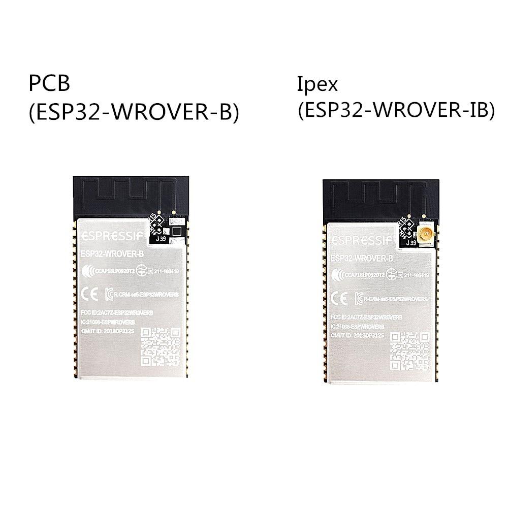 50 pièces ESP32-WROVER-B carte PCB à bord ESP32-WROVER-IB module d'antenne Ipex basé sur le module ESP32-D0WD WiFi-BT-BLE MCU 4 mo SPI flash