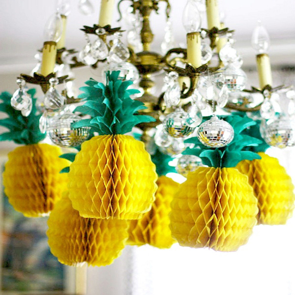 1pcs tissue paper tropical big pineapple honeycomb for Wedding party centerpieces