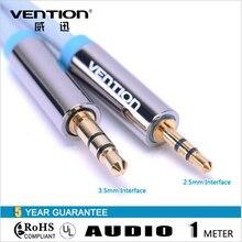 Конвенция Джек 3.5 мм до 2.5 мм между мужчинами Аудио Кабель Позолоченный 1 м Синий Aux Стерео Аудио кабель