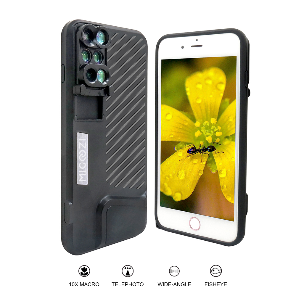 2017 New Arrival For iPhone 7 8 Plus Dual Camera Lens Fisheye Wide Angle Macro Lens Telescope Lens With Phone Case Cover 6 in 1