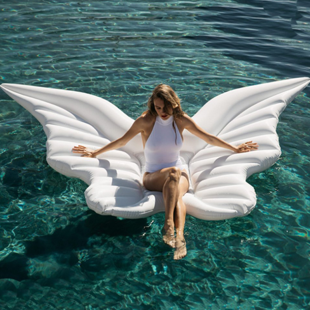 Giant PVC Angel Wings Floating Row Gold White Lie-On Inflatable Water Mattress Inflatable Swimming Floating Bed For Adult Child