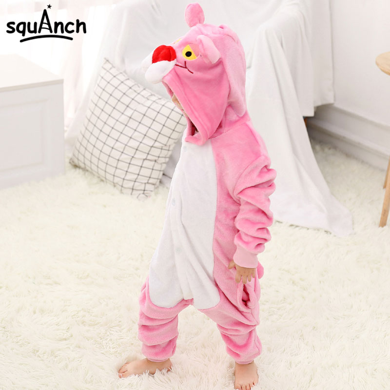 Pink Animal Kigurumi Panther Onesie Kids Child Sleepwear Funny Jumpsuit Winter Warm Pajama Cute Overalls Carnival Party Outfit