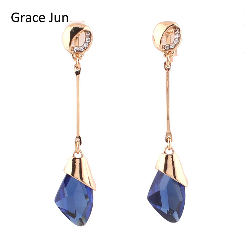 Grace Jun Top Quality Bridal Rhinestone Crystal Clip on Earrings Without Piercing for Gril Prom Enagament Fine Jewerly Accessory 1 0 led digital usb rechargeable voice recorder w mp3 player 4gb
