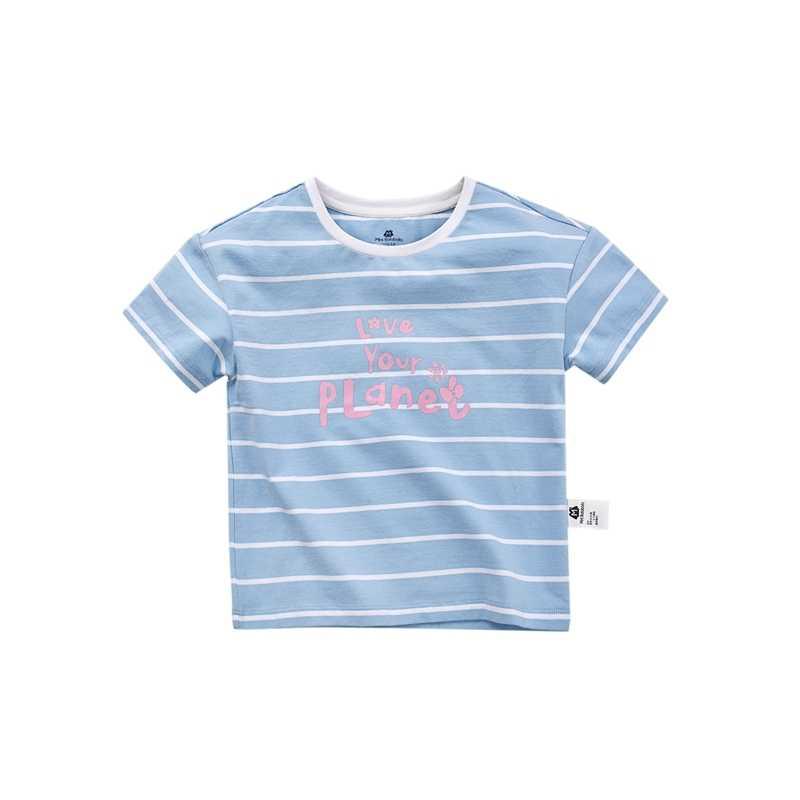 מיני Balabala בנות t חולצה 100% רך כותנה פסים קצר שרוולים חולצה הדפסת ילדי ילד מצולעים חולצה צווארון עגולה טי למעלה