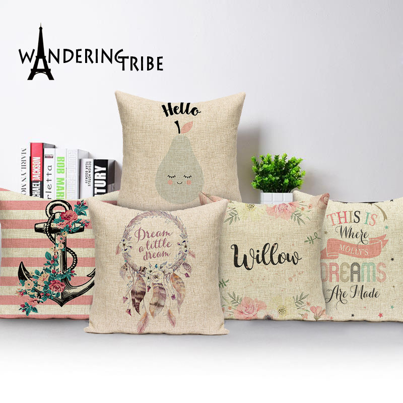 2017 Christmas pillow caseChristmas subtitles elk cotton linen throw 45*45 pillow wholesale Decorative Sofa Soft Cushion Cover