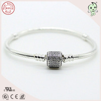 High Quality Authentic 925 Sterling Silver Snake Charm Bracelets With CZ Pave Clip Clasp For European