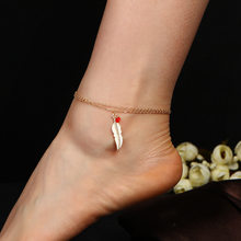 Leaf Tassel Anklet Gold Silver Color Ankle Chain Bracelets Charm Women Feather Red Beads Beach Barefoot Sandals Leg Foot Jewelry(China)