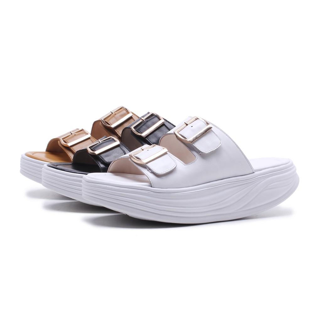 Femmes forme Femme Cuir Noir Plat Confortable Chaussures Plate Boucle Véritable 2018 Occasionnels En white brown Sandales Nouvelles Smirnova Mode D'été BoeWCxQrd