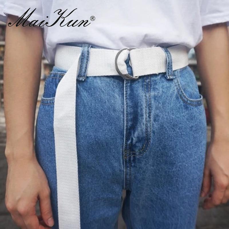 MaiKun Cinturones de lona para mujer Cinturón de hombre con hebilla - Accesorios para la ropa - foto 3