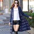 2016 осенью и зимой куртка женщин длинные синтепон тонкий теплый С Капюшоном длинный жакет женщины плюс размер X-long королева пальто