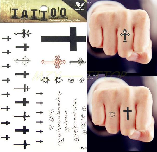 Waterproof Tattoo Sticker Black Cross Tattoo Finger Stick