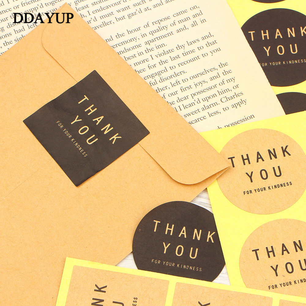 Купить с кэшбэком 60Pcs Sticker Label Thank You Round Square Black Kraft Paper Color Sealing Paste Baking Biscuit Bag Decorative Seal Sticker