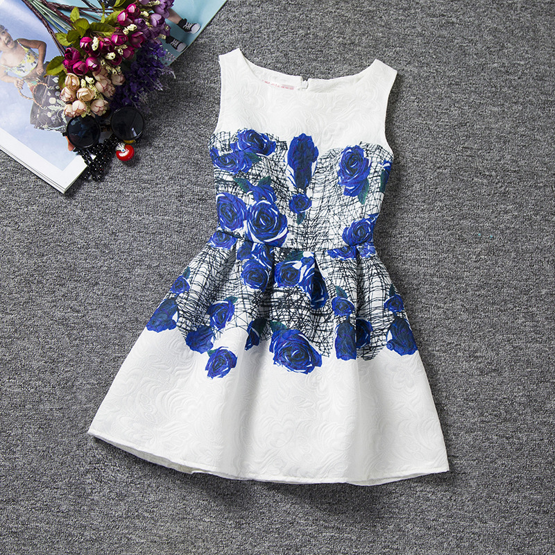 U-SWEAR 2019 New Arrival Kid   Flower     Girl     Dresses   O-Neck Sleeveless Blue Enchantress Print A-line   Girl   Pageant   Dresses   Vestidos