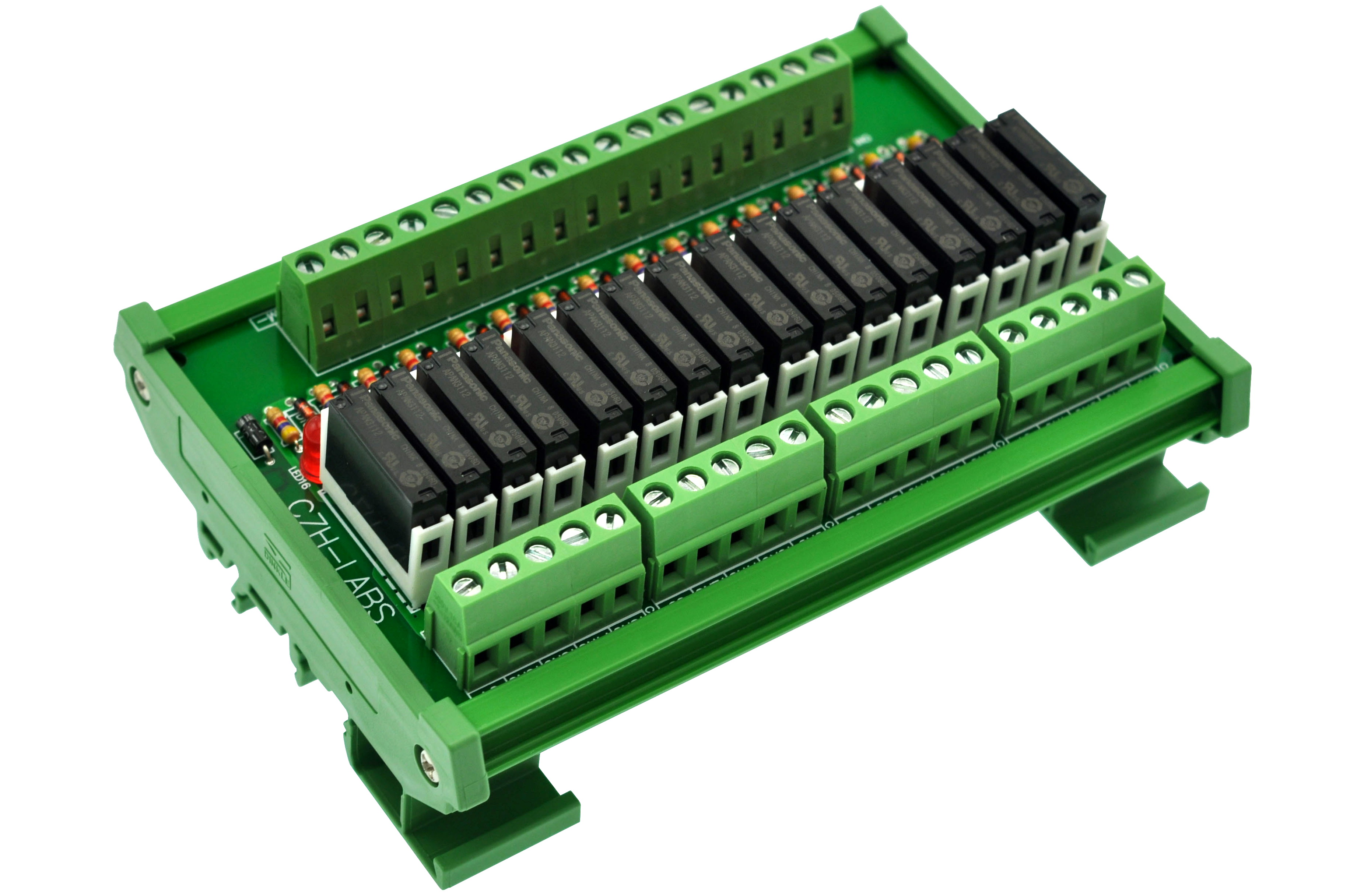 Slim DIN Rail Mount DC12V Source/PNP 16 SPST-NO 5A Power Relay Module, APAN3112