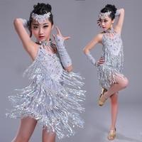 Latin Dance Dress Fringe Dress Kids Skirt Dresses For Girls Latin Training Tango Performance Stage Clothes Latin Dresses BL1170