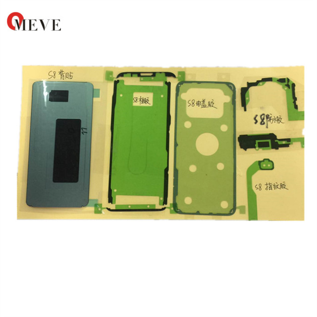10sets/lot Original Full Precut Adhesive Tape  LCD Screen + Back Cover + Battery Sticker Set for Samsung Galaxy S8 SM-G950 5.8''