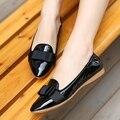 Ню Цвет Черный Красный Лакированной Кожи Бантом Дизайн Моды Удобные Женщин Горох Обувь 2016 Newesr Скидка Горячей Продажи Плоские Туфли