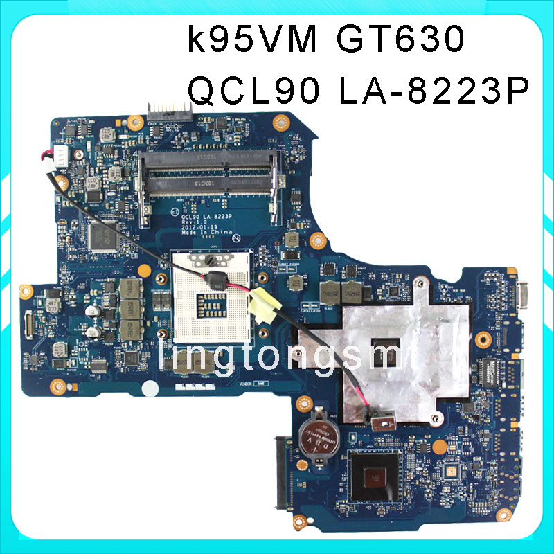 Original K95VM for ASUS Laptop motherboard QCL90 LA-8223P REV1.0 Mainboard 2 RAM Slots GeForce 630M 1G Ram 100% tested brand new pbl80 la 7441p rev 2 0 mainboard for asus k93sv x93sv x93s laptop motherboard with nvidia gt540m n12p gs a1 video card