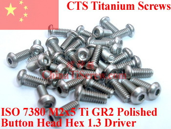 Titanium screw M2X5 ISO 7380 Button Head Hex 1.3 Driver Ti GR2 Polished 50 pcs 50pcs lot iso7380 m3 x 6 pure titanium button head hex socket screw