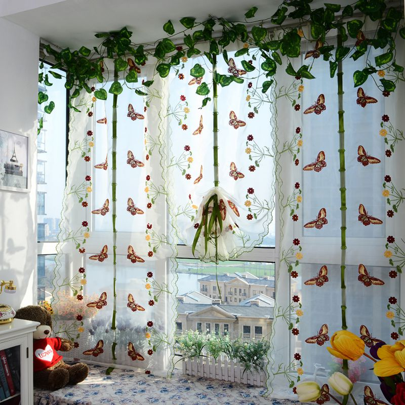 ❤ Best Buy Butterfly Tulle Curtain For Windows Roman Shades ...
