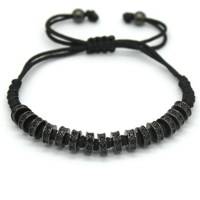 New Fashion Brand Macrame Bracelets, Rose Gold Micro Pave Black CZ Stoppers Beads Strand Macrame Bracelet For Men Jewelry 11