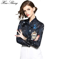 Long Sleeve Office Women Blouse 2018 Fashion Lace Up Bow Tie Star Cartoon Robot Print Women