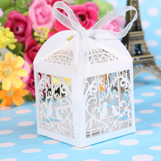 25 Pcs Lot Laser Cut Bird Wedding Favors Candy Boxes Sweets Box Baby Shower Gifts