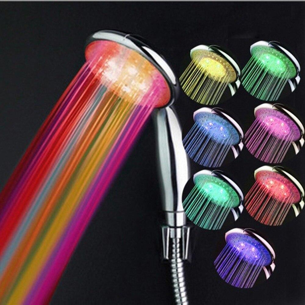 ראש מקלחת LED העגול RGB בקרת טמפרטורת אור רז 7 שינוי צבע אמבט אין סוללה בחנויות מקלחות SDS-A24