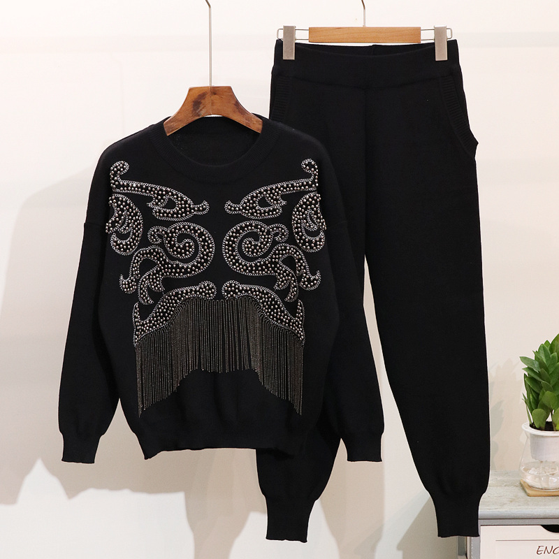 Women Autumn Winter New Tassel Sweater Pants Two Piece Set Handmade Pearls Long Sleeve Knitted Pullover