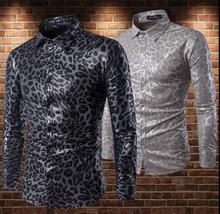 fashion slim sexy shirt men Leopard snakeskin print long sleeves camisa masculina teenage shirts mens singer stage