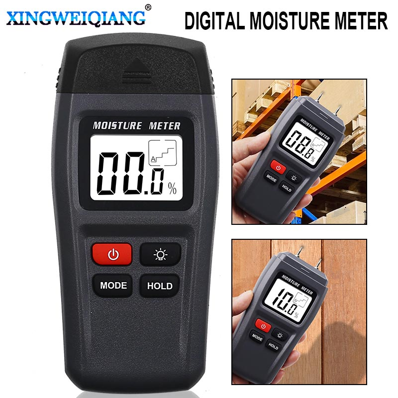 MT15 Two Pins Digital Wood Moisture Meter 0-99.9% Wood Humidity Tester Timber Damp Detector With Large LCD Display