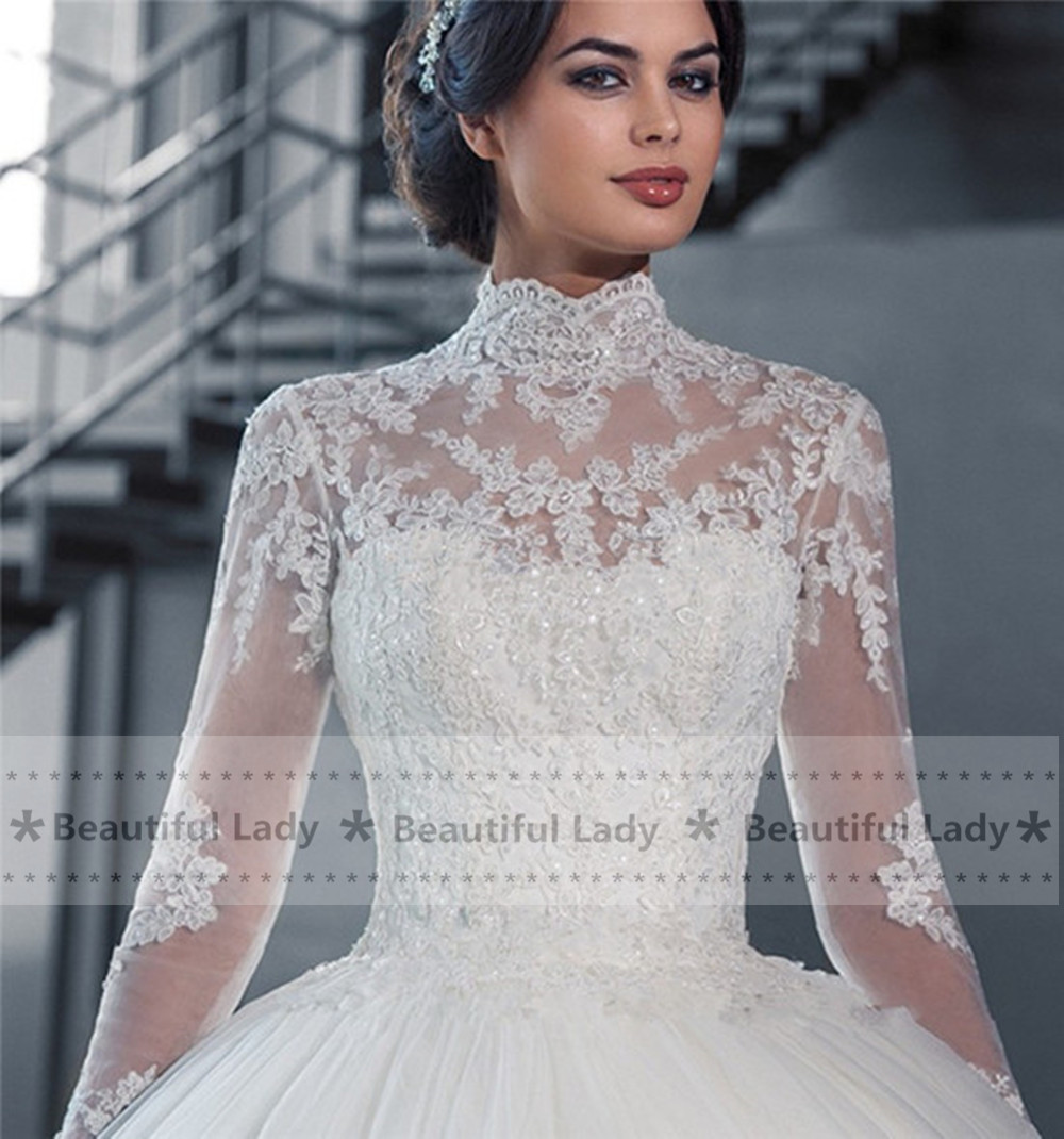 Elegant Hijab Wedding Dress 2017 High Neck Long Sleeve Sheer Lace Ball Gown Bridal Gowns See Through Sexy Dresses In From Weddings
