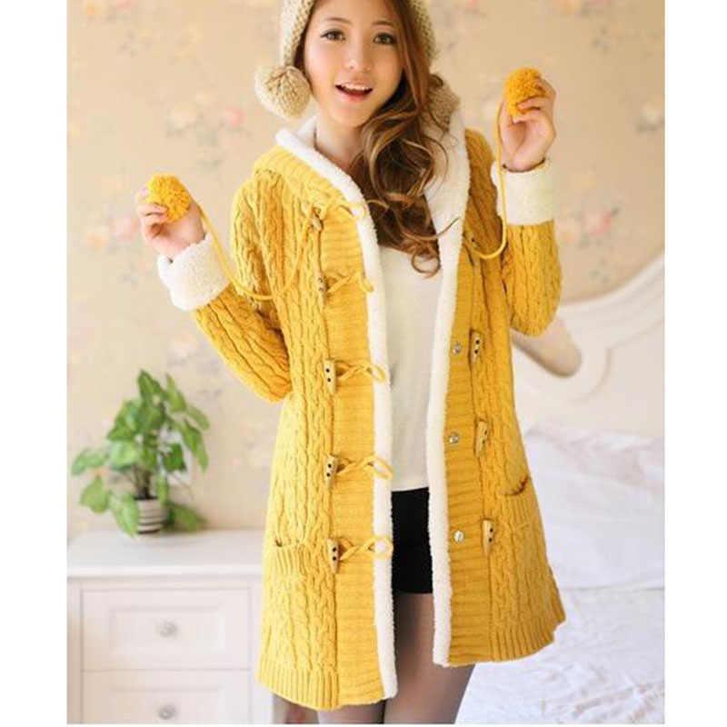 Новые зимние Для женщин свитер пальто с длинным рукавом Чистый цвет Однобортный вязаный кардиган с капюшоном Для женщин свитер теплый тонкий