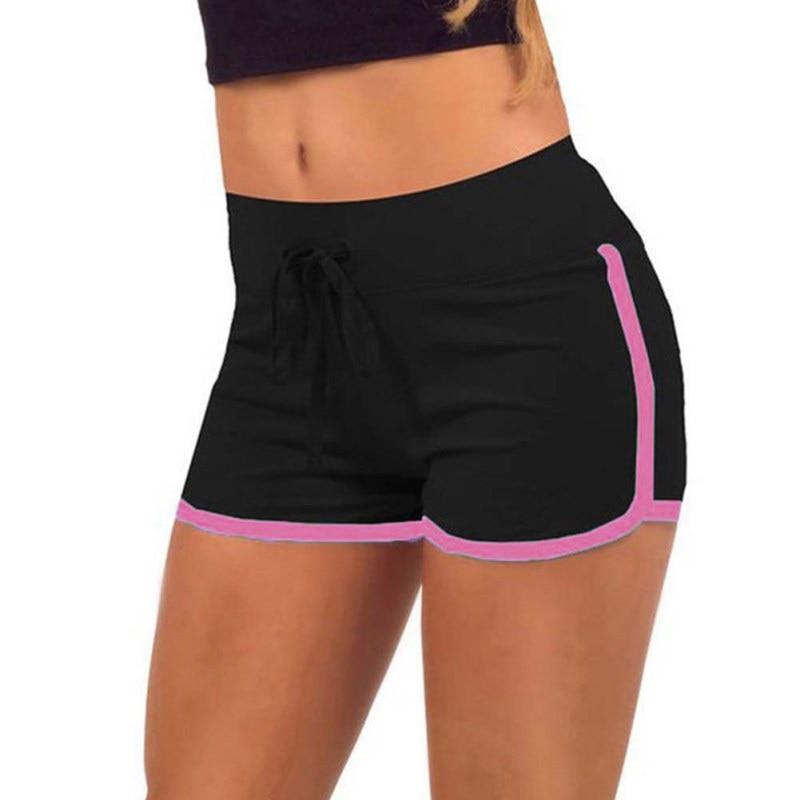 Summer Drawstring   Shorts   Women Loose Cotton Contrast Binding Side Split Elastic Waist   Short