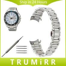 Acier inoxydable Bracelet Curved End Bracelet pour Seiko Hommes Femmes Bande de montre-Bracelet Ceinture Bracelet Argent Or 16mm 18mm 20mm 22mm