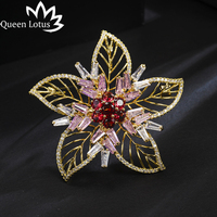 Queen Lotus New Luxury High Quality Flower Brooches for Women AAA Zircon Jewelry Crystal Brooch and Pins For Gift