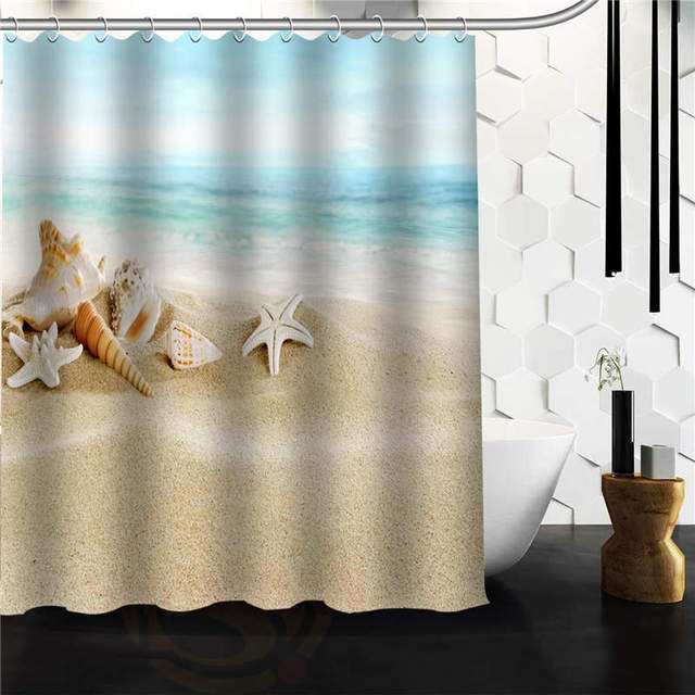 NEW CUSTOM DESIGNED SEASHELL SEASHELLS BEACH SCENE FABRIC SHOWER CURTAIN 48x72 60x72 66x72 INCH