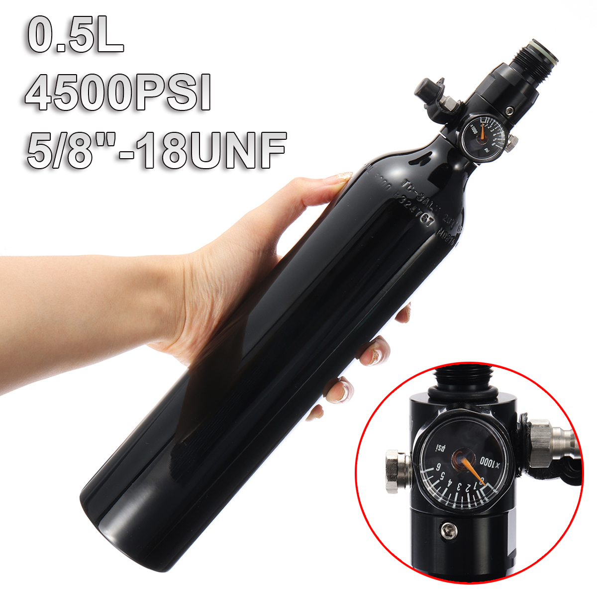 Paintball PCP Cylinder Tank 4500psi 0.5L High Compressed Air Bottle W/Regulator