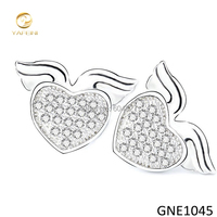 Free Shipping Newest Design 925 Sterling Silver Studs Micro Pave Heart Earrings S925 Jewelry As Gift