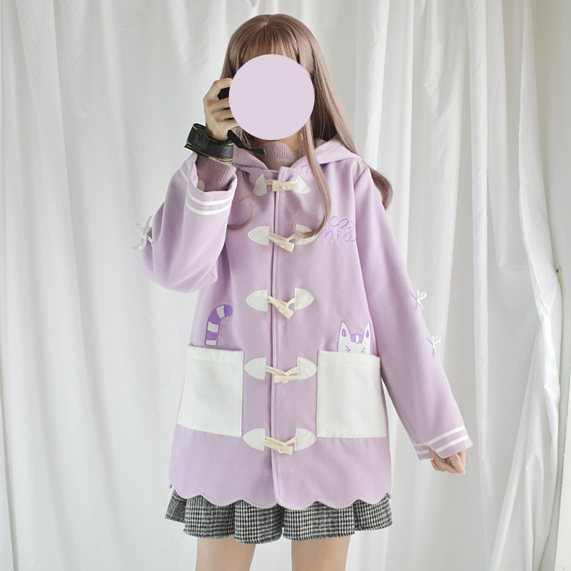 Mori Girl Cute Patchwork Pocket Cat Embroidery Coat Women Autumn,Winter Hooded Horn Button Long Wool Blend Outwear Sweet Purple