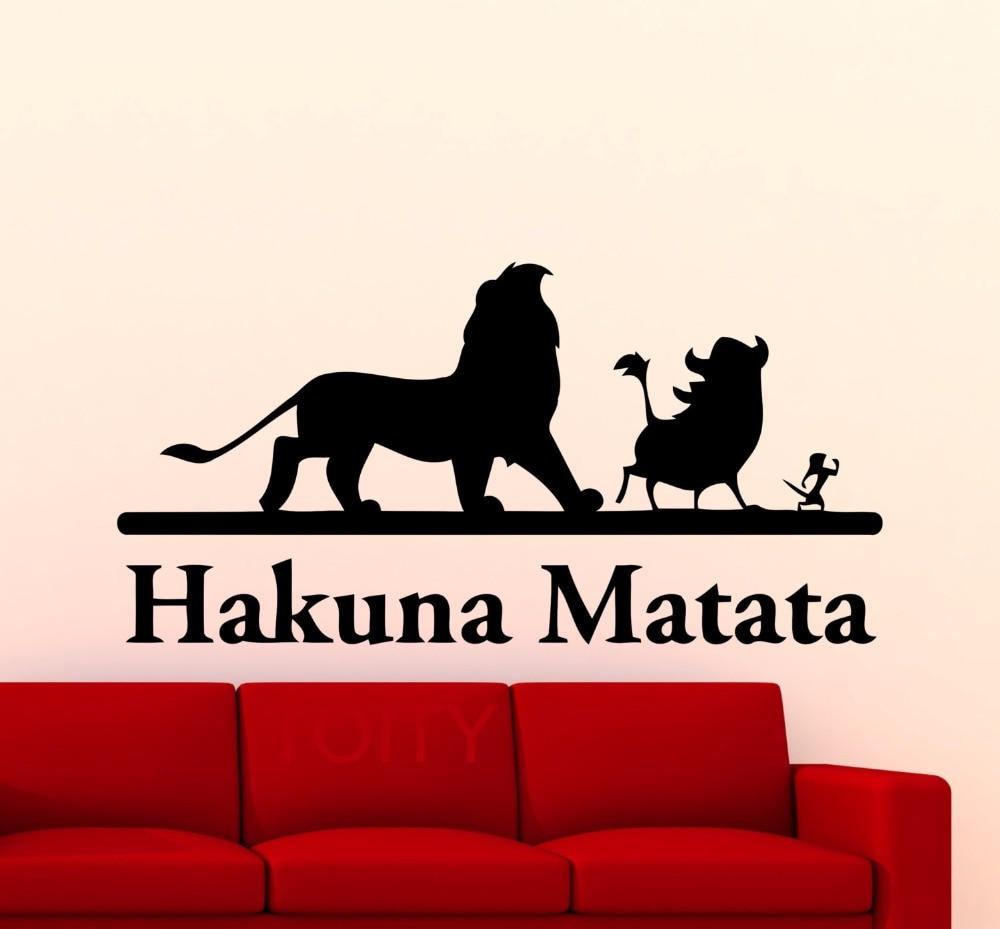 Online Shop Hakuna Matata Lion King Wall Sticker Cartoon Vinyl Decal Home  Nursery Room Interior Decoration Children Boys Retro Art Mural | Aliexpress  Mobile