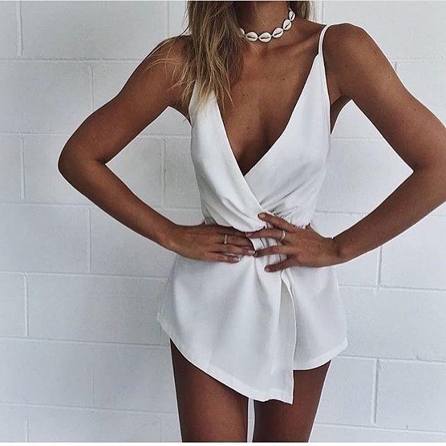 Verão 2016 Sexy Macacão Branco Mulheres Strap Decote em V Profundo Macacão Cintura Elástica Bodysuit Playsuit Macacão macacão S6403