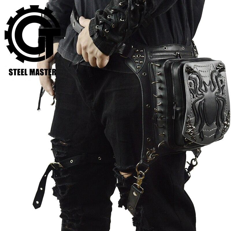 Gothic Black Spider Waist Bag Retro Rock Leg Bag Steampunk Crossbody Leather Phone Case Holder Punk Fanny Pack