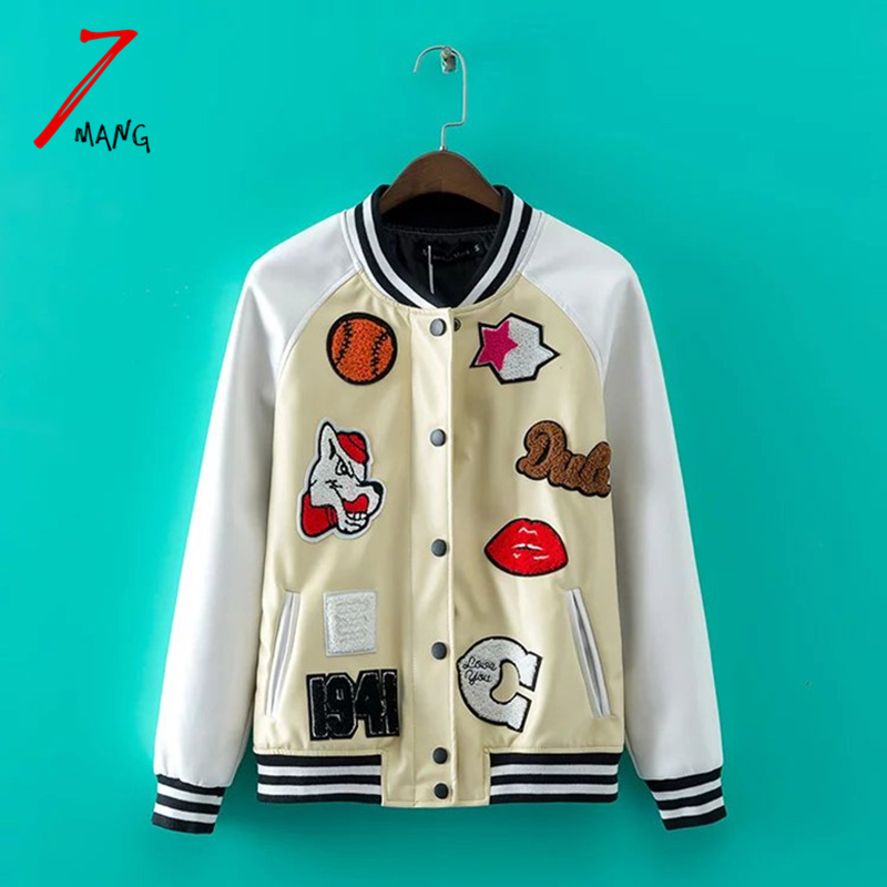 7mang 2017 autumn women street cartoon patches embroidery bomber leather font b jacket b font long